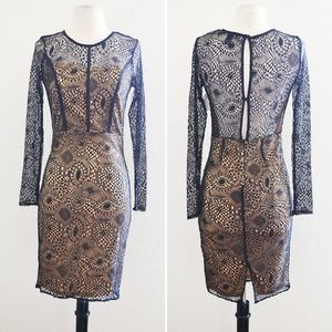 Dresses & Skirts - Black Lace and Beige Long Sleeve Dress Size Small